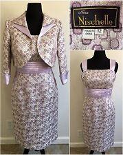 Nina Nischelle Formal Dress and Jacket 2pc Set Size 12 Purple Silver Metallic