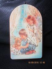 Schutzengelbild auf Holz, Junge mit Schutzengel, Bild