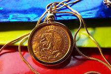 """1959 Eagle Coin Mexico Gold Filled Bezel Pendant on 24"""" Gold Filled Snake Chain"""