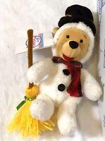 "New Disney Store Snowman Winnie The Pooh Holiday 8"" Plush Mini Bean Bag Toy Doll"