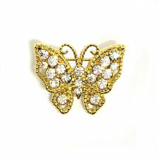 Butterfly Stock Pin Brooch in Gold and Crystal