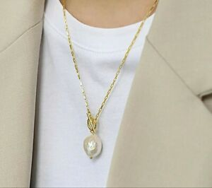 New! 18K Gold Plated 925 Sterling Silver Freshwater Pearl Chain Necklace