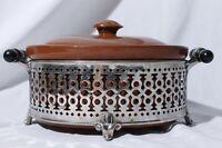 Vtg Weller Stoneware Crock Covered Casserole Dish Bean Pot & Metal Stand