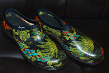 Sloggers Clogs Rain Garden Shoes Womens 8 Floral Leaf Print Black Slip On NWOB