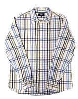 JACK SPADE New York Men's Button Down Shirt Brown Blue Ivory Check Size Large