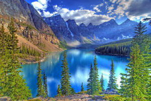 Wall Art Print Painting Mountains Nature Glacial Lake on Canvas Living Room Deco
