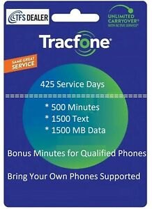 TracFone Service Extension 425 Days,500mins/1500 txt/1.5GB Data For All Phones
