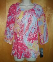 NWT NEW womens size XS blue yellow red CHAPS peasant keyhole blouse shirt $59