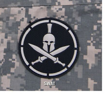 Morale Patch - PVC - SPARTAN Shield with HELMET - SWAT scheme - WHITE on BLACK