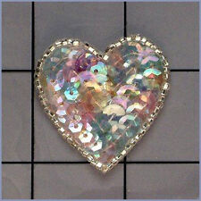 SEQUIN SEED BEADED 1.5 INCH HEART APPLIQUE 0257-G