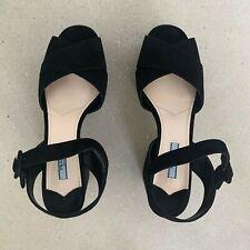 Prada Signature Black Suede Sandals Size Euro 39.5 (UK 6.5, US 8.5) RP £740