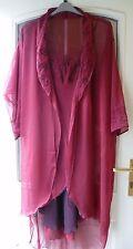 Stunning Ladies Burgundy Chiffon Chemise & Robe Marks & Spencer S 12-14 Gift