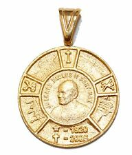 John Paul II Commemorative Medal 18K Gold Plated Pendant with Chain Necklace