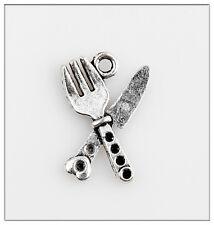 20Pcs knife/Fork Tibetan Silver Charms Pendants Jewelry Making Findings