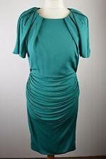 Beautiful women's Karen Millen teal green cap sleeve rouched wiggle dress 12