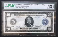 $20 SERIES OF 1914 FEDERAL RESERVE NOTE / KANSAS CITY / Fr#1003/ PMG 53 EPQ / AU