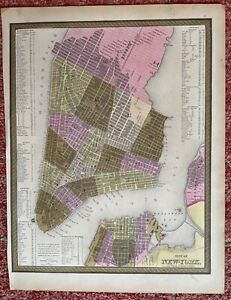 Very well preserved Mitchell Map of New York City, 1850's Original coloring