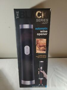 AUTOMATIC CORDLESS WINE OPENER BLACK SERIES w/foil cutter Included. New In Box