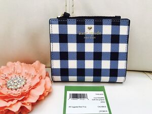 NWT Kate Spade Compact Wallet Card Coin Hyde Lane adalyn Navy White Gingham $88