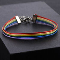 Lgbt Gay Pride Lesbian Rainbow Friendship Bracelet LGBT Wax Rope Trans Men UK AN