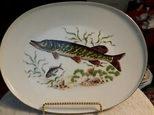 JKW WESTERN GERMANY FISH SET Gold Border - Set OF 6 Dinner Plates + Platter!