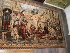 Lovely Old Persian Theme Tapestry/Rug Dancing Women Musicians Warriors Bazaar