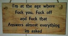 Wooden plaques handmade signs gifts life quotes sayings Funny Fk it Fk u Fk that