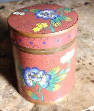 """Vintage Chinese Brass Enamel Cloisonne Round Lidded Trinket Box Floral Design 3"""""""