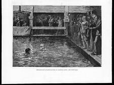 1879 Antique Print - LAMBETH BATHS Six Days Swimming Match London  (167b)