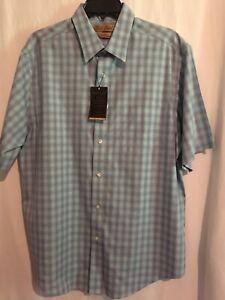 Roundtree Yorke Gold Label Men SS Shirt Cotton Sz L Green Purple Plaid NWT