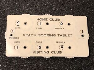 Vintage Reach Baseball Celluloid Scoring Tablet with 8 Indicators
