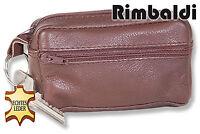 Rimbaldi® Große Leder Schlüsseltasche mit Extrafach in Braun