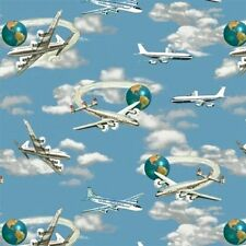 Planes, Trains and Automobiles Planes and Jets in Sky Cotton Fabric Fat Quarter