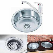 Single Round 1.0 Bowl Stainless Steel Inset Topmount Kitchen Sink 425 X 425mm UK
