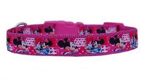 Cerise pink Minnie Mouse & cute hearts medium breed dog puppy collar 19mm