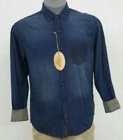 Vintage Italia Reserved Stock Blue Birds Eye Cotton L/S Men's Shirt NWT $98 M XL