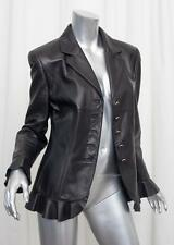 ESCADA Womens Classic Black Leather Long-Sleeve Blazer Jacket Coat 40/8 M