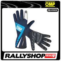 FIA OMP FIRST EVO RACE Karthandschuh Handschuhe Professionell Blau Motorsport