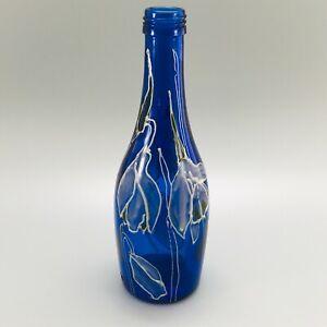 COBALT BLUE BOTTLE HAND DECORATED LILY / FLOWER DESIGN 21CM TALL