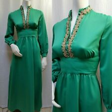 Vintage 60s EMERALD GREEN MAXI DRESS EVENING GOWN with RHINESTONES - Size S