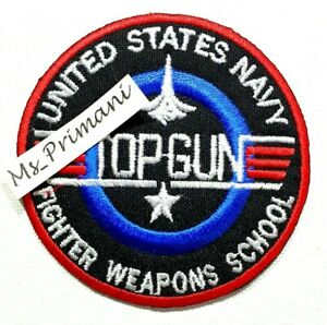 EMBROIDERED USA NAVY TOP GUN IRON/SEW ON PATCH JACKET JEANS BADGE  7.8CM DIA