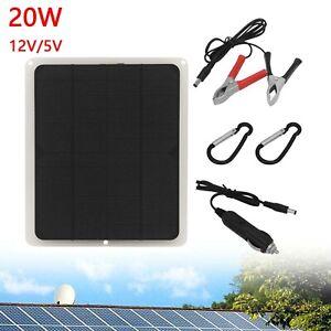 Solarmodul 12V/20W Solarpanel Solarbatterie USB-Ladegerät für Mobiltelefon Boot