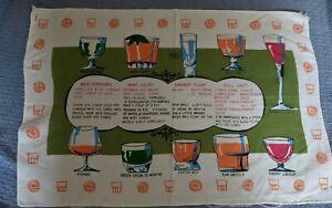 Vintage Drink Recipes  Bar Towel  60's Mod  'Rat Pack' Style