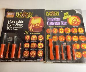 Vintage Pumpkin Master's Pumpkin Carving Kit x 2, With Design Cutout Sheets,2002