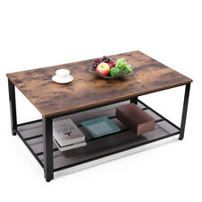 2 Tiers Rectangular Coffee Table Vintage Cocktail Table Living Room w/ Reticulat