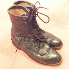 WOMENS JUSTIN Style L470 GREEN LEATHER LACE UP KILTE ROPER COWBOY BOOT Size 7B