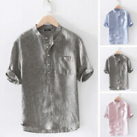 100%Cotton Mens Casual Striped T Shirts V Neck Loose Hippie Party Beach Tops Tee