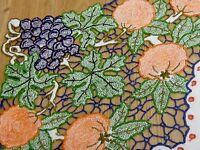 """VINTAGE HAND EMBROIDERED CUT WORK """" Fruity """" NATURAL LINEN TABLECLOTH"""