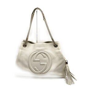 Gucci Shoulder Bag  Whites Leather 1416794