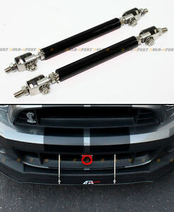 Black Adjustable Bumper Lip Splitter Strut Rod Bar For Subaru Impreza WRX STi
